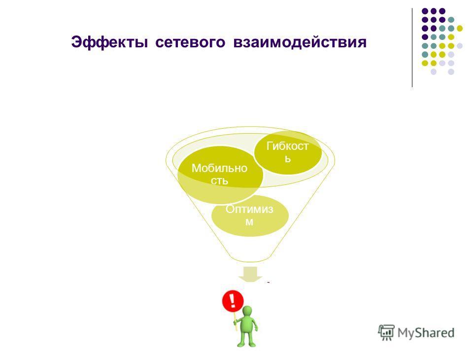 Эффекты сетевого взаимодействия Оптимиз м Мобильно сть Гибкост ь