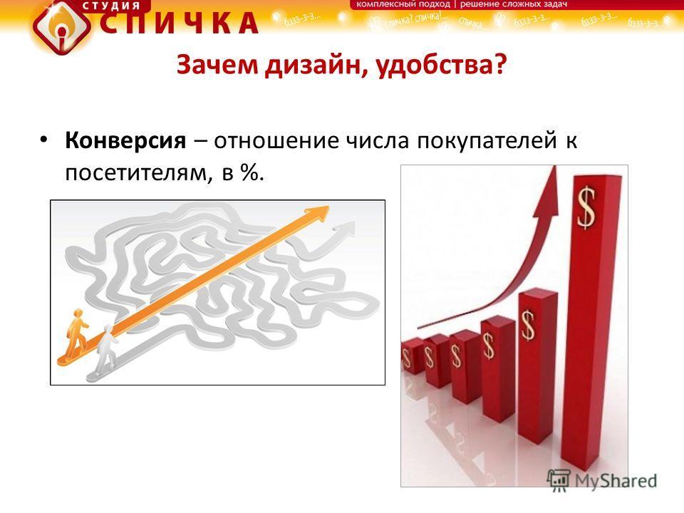 Зачем дизайн, удобства? Конверсия – отношение числа покупателей к посетителям, в %.