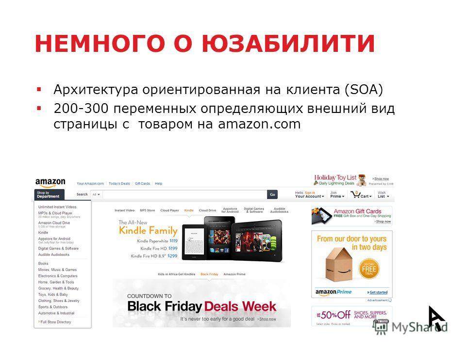 НЕМНОГО О ЮЗАБИЛИТИ Архитектура ориентированная на клиента (SOA) 200-300 переменных определяющих внешний вид страницы с товаром на amazon.com