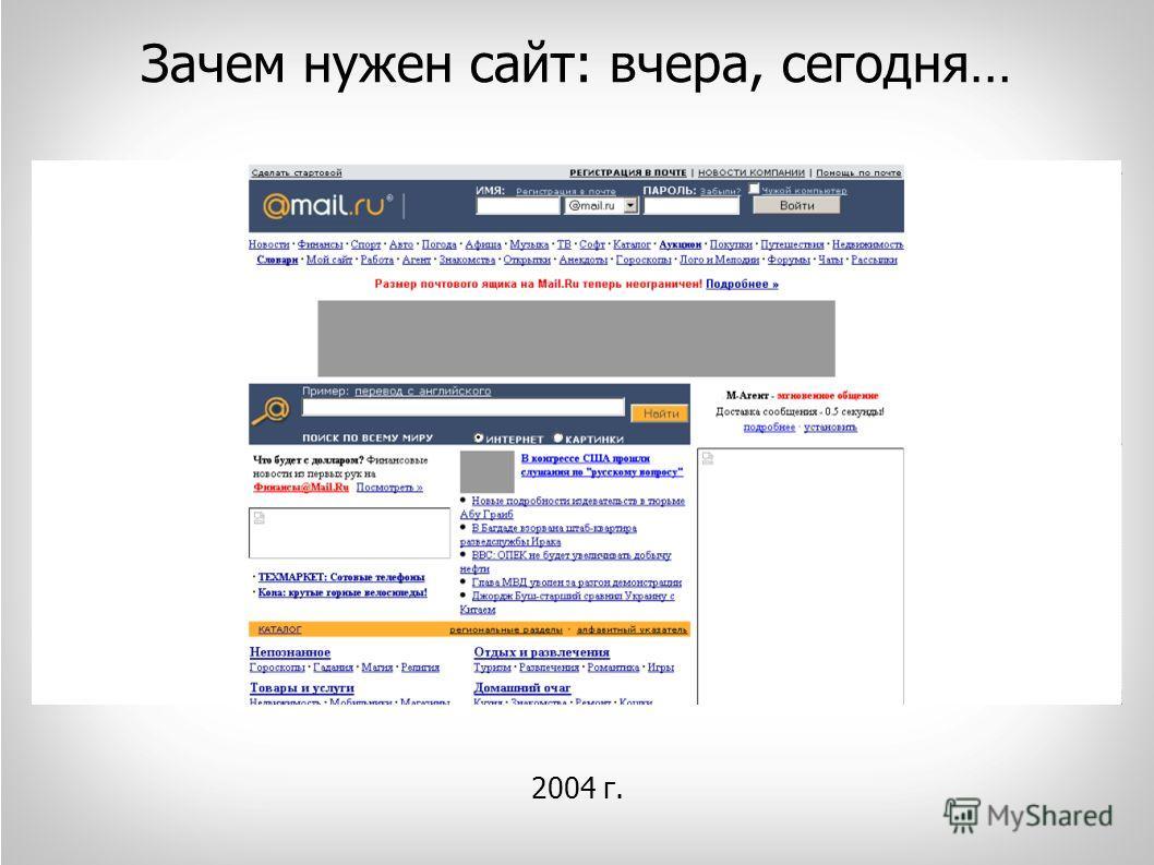 Зачем нужен сайт: вчера, сегодня… 2004 г.