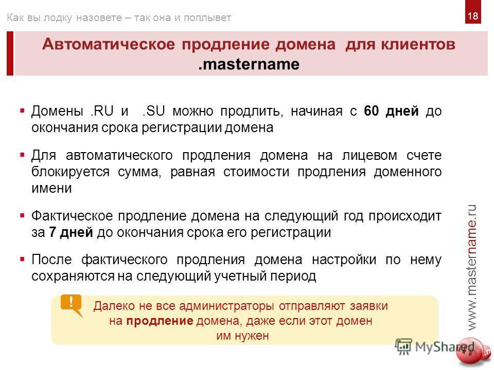 Автоматическое продление домена для клиентов.mastername www.mastername.ru Как вы лодку назовете – так она и поплывет Домены.RU и.SU можно продлить, начиная с 60 дней до окончания срока регистрации домена Для автоматического продления домена на лицево