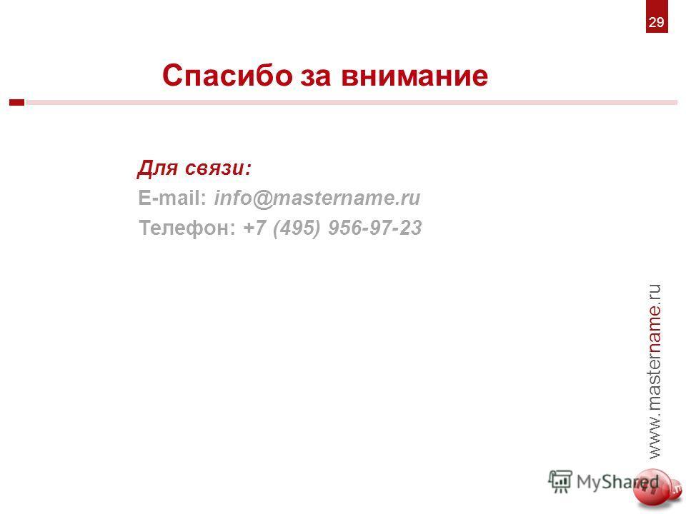 6. Для связи: E-mail: info@mastername.ru Телефон: +7 (495) 956-97-23 Спасибо за внимание 7 www.mastername.ru 2929