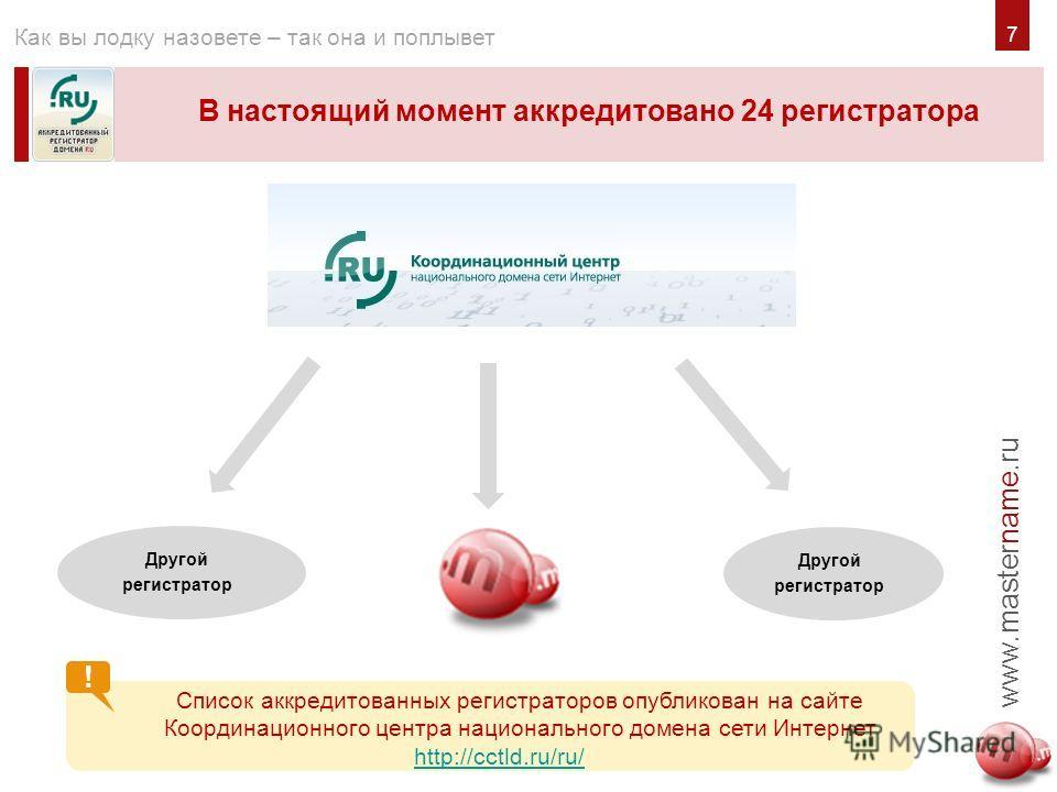 7 В настоящий момент аккредитовано 24 регистратора www.mastername.ru Как вы лодку назовете – так она и поплывет ! Список аккредитованных регистраторов опубликован на сайте Координационного центра национального домена сети Интернет http://cctld.ru/ru/