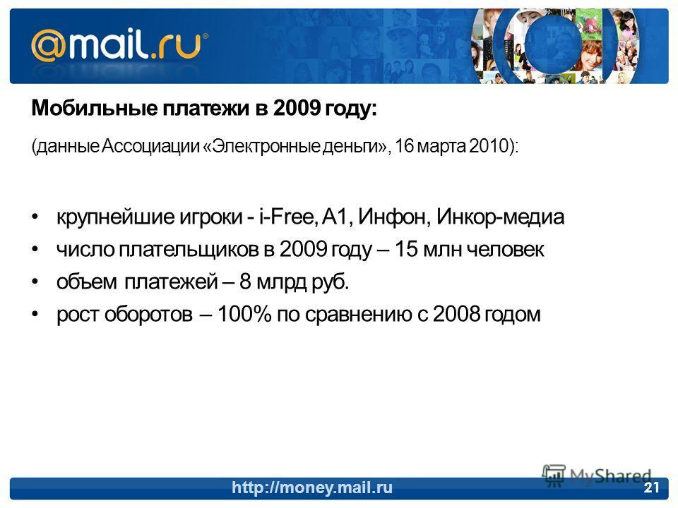 Мобильные платежи в 2009 году: (данные Ассоциации «Электронные деньги», 16 марта 2010): крупнейшие игроки - i-Free, A1, Инфон, Инкор-медиа число плательщиков в 2009 году – 15 млн человек объем платежей – 8 млрд руб. рост оборотов – 100% по сравнению