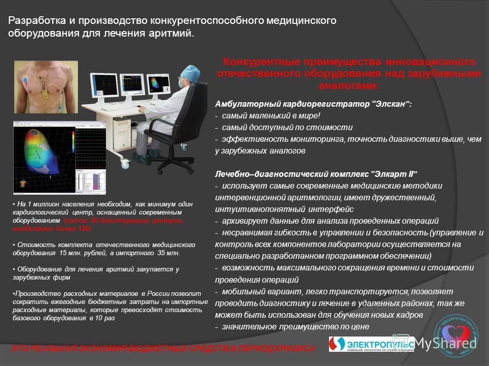 Разработка и производство конкурентоспособного медицинского оборудования для лечения аритмий. Конкурентные преимущества инновационного отечественного оборудования над зарубежными аналогами: Амбулаторный кардиорегистратор Элскан: - самый маленький в м
