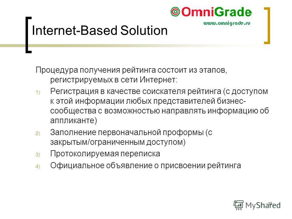 19 > 19 Процедура получения рейтинга состоит из этапов, регистрируемых в сети Интернет: 1) Регистрация в качестве соискателя рейтинга (с доступом к этой информации любых представителей бизнес- сообщества с возможностью направлять информацию об апплик