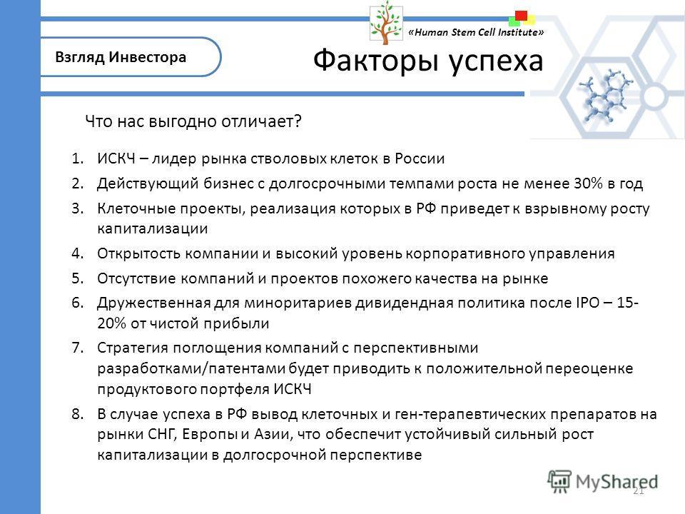 21 1.ИСКЧ – лидер рынка стволовых клеток в России 2.Действующий бизнес с долгосрочными темпами роста не менее 30% в год 3.Клеточные проекты, реализация которых в РФ приведет к взрывному росту капитализации 4.Открытость компании и высокий уровень корп