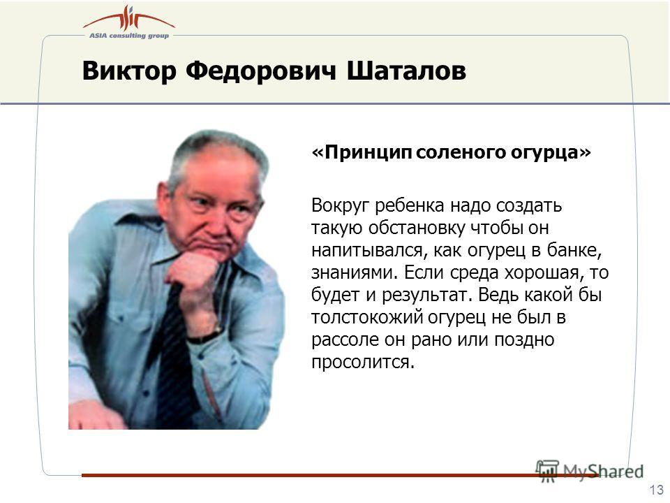 Виктор Федорович Шаталов «Принцип соленого огурца» Вокруг ребенка надо создать такую обстановку чтобы он напитывался, как огурец в банке, знаниями. Если среда хорошая, то будет и результат. Ведь какой бы толстокожий огурец не был в рассоле он рано ил