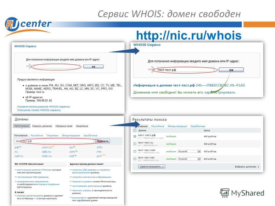 Сервис WHOIS: домен свободен http://nic.ru/whois
