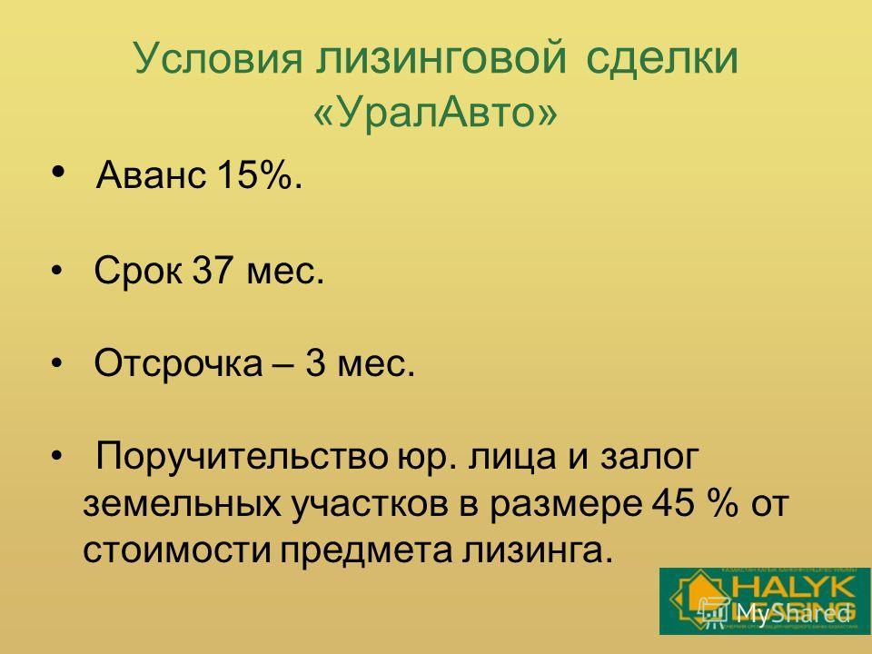 Условия лизинговой сделки «УралАвто» Аванс 15%. Срок 37 мес. Отсрочка – 3 мес. Поручительство юр. лица и залог земельных участков в размере 45 % от стоимости предмета лизинга.