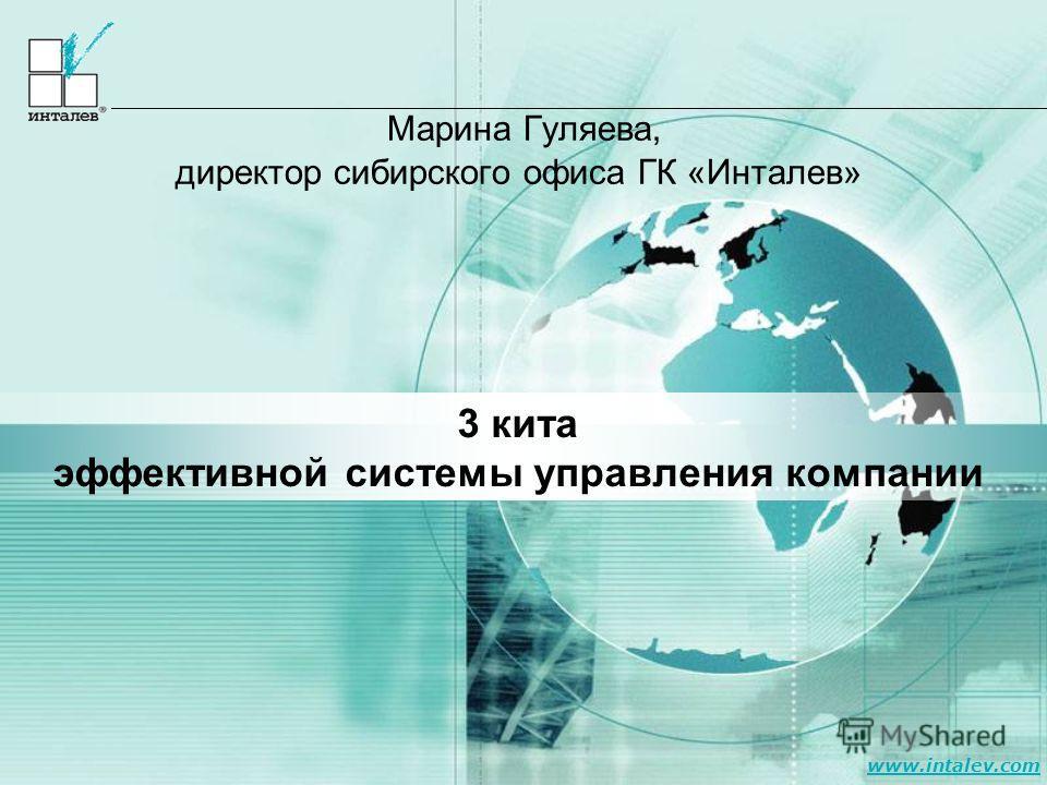 www.intalev.com Марина Гуляева, директор сибирского офиса ГК «Инталев» 3 кита эффективной системы управления компании