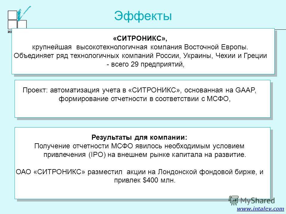 www.intalev.com Эффекты «СИТРОНИКС», крупнейшая высокотехнологичная компания Восточной Европы. Объединяет ряд технологичных компаний России, Украины, Чехии и Греции - всего 29 предприятий, «СИТРОНИКС», крупнейшая высокотехнологичная компания Восточно