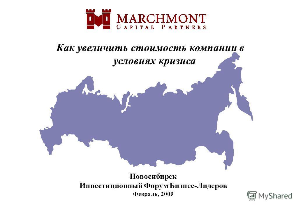 Новосибирск Инвестиционный Форум Бизнес-Лидеров Февраль, 2009 Как увеличить стоимость компании в условиях кризиса