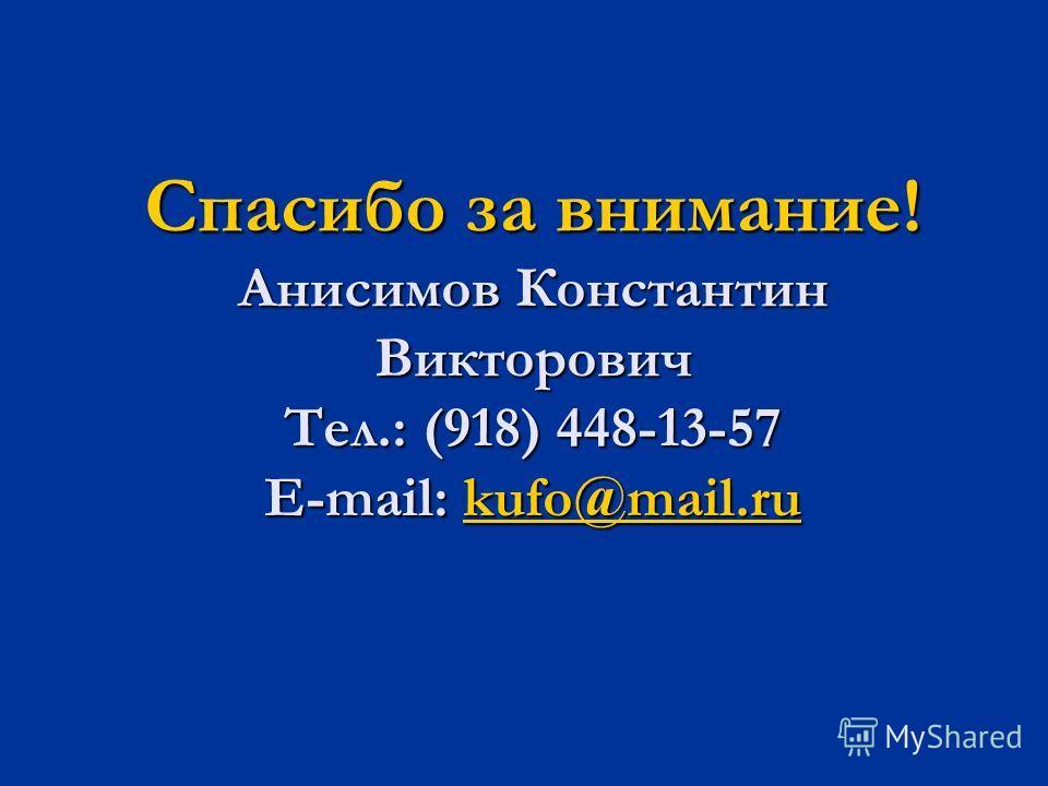 Спасибо за внимание! Анисимов Константин Викторович Тел.: (918) 448-13-57 E-mail: kufo@mail.ru kufo@mail.ru