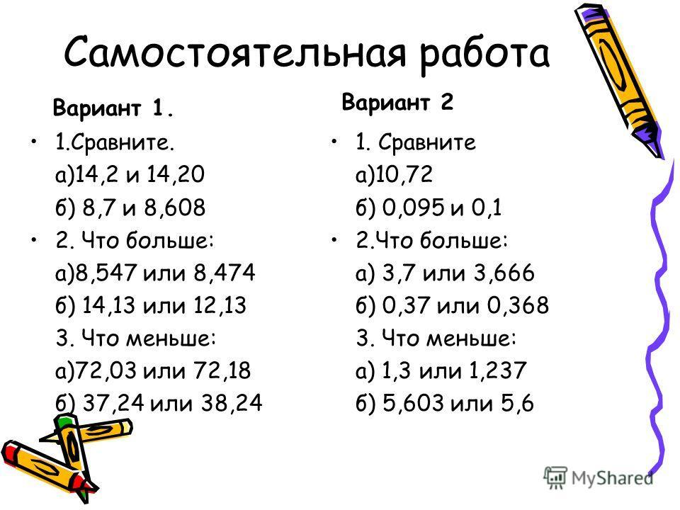 Самостоятельная работа Вариант 1. Вариант 2 1.Сравните. а)14,2 и 14,20 б) 8,7 и 8,608 2. Что больше: а)8,547 или 8,474 б) 14,13 или 12,13 3. Что меньше: а)72,03 или 72,18 б) 37,24 или 38,24 1. Сравните а)10,72 б) 0,095 и 0,1 2.Что больше: а) 3,7 или