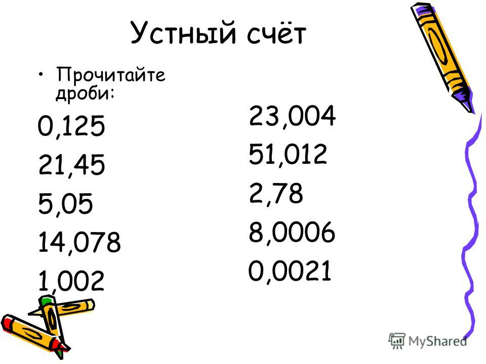 Устный счёт Прочитайте дроби: 0,125 21,45 5,05 14,078 1,002 23,004 51,012 2,78 8,0006 0,0021