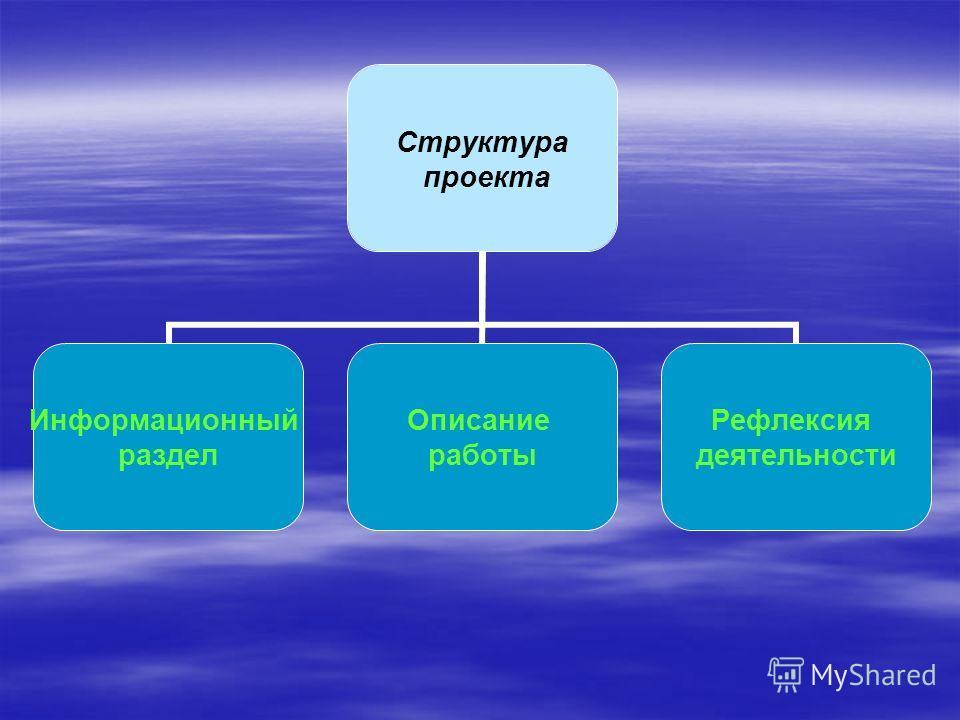 Структура проекта Информационный раздел Описание работы Рефлексия деятельности