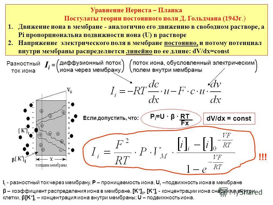 Уравнение Нернста – Планка Постулаты теории постоянного поля Д. Гольдмана (1943г.) 1.Движение иона в мембране - аналогично его движению в свободном растворе, а Рi пропорциональна подвижности иона (U) в растворе 2.Напряжение электрического поля в мемб