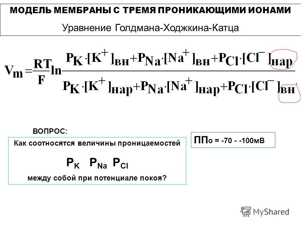 Как соотносятся величины проницаемостей Р K P Na P Cl между собой при потенциале покоя? ПП о = -70 - -100мВ ВОПРОС: МОДЕЛЬ МЕМБРАНЫ С ТРЕМЯ ПРОНИКАЮЩИМИ ИОНАМИ Уравнение Голдмана-Ходжкина-Катца