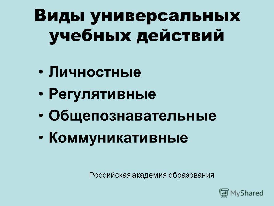 Виды универсальных учебных действий Личностные Регулятивные Общепознавательные Коммуникативные Российская академия образования