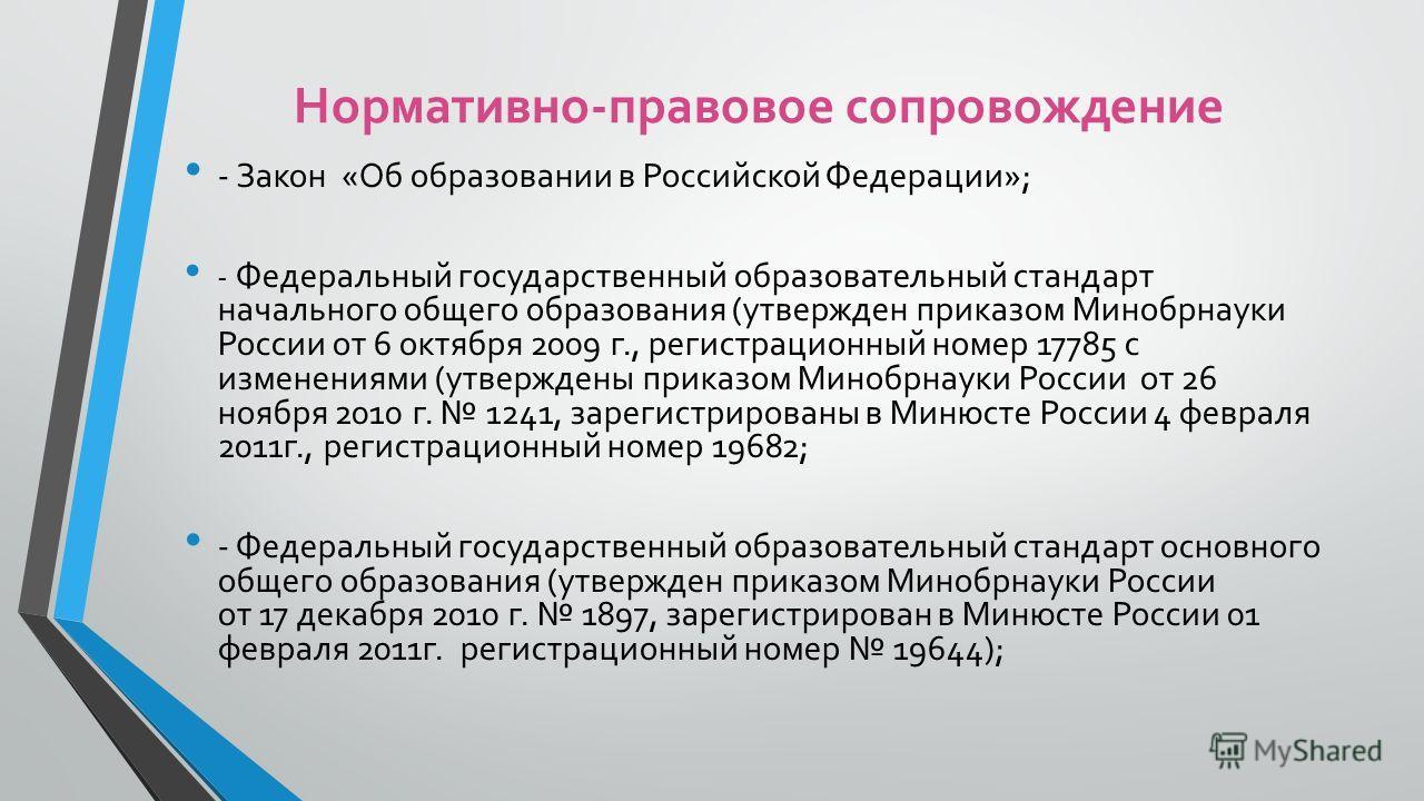 Нормативно-правовое сопровождение - Закон «Об образовании в Российской Федерации»; - Федеральный государственный образовательный стандарт начального общего образования (утвержден приказом Минобрнауки России от 6 октября 2009 г., регистрационный номер