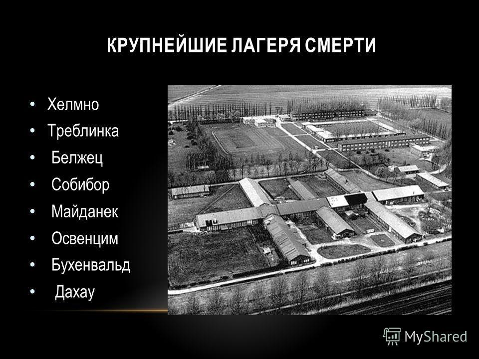 Хелмно Треблинка Белжец Собибор Майданек Освенцим Бухенвальд Дахау КРУПНЕЙШИЕ ЛАГЕРЯ СМЕРТИ