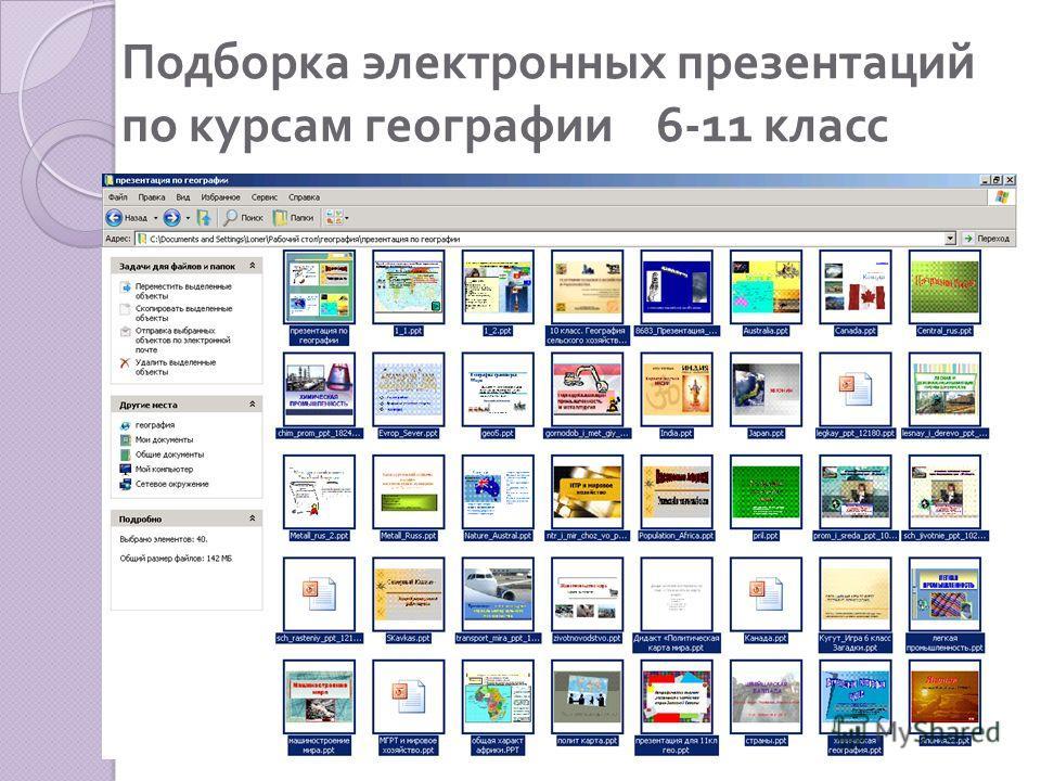 Подборка электронных презентаций по курсам географии 6-11 класс