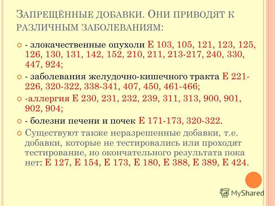 З АПРЕЩЁННЫЕ ДОБАВКИ. О НИ ПРИВОДЯТ К РАЗЛИЧНЫМ ЗАБОЛЕВАНИЯМ : - злокачественные опухоли Е 103, 105, 121, 123, 125, 126, 130, 131, 142, 152, 210, 211, 213-217, 240, 330, 447, 924; - заболевания желудочно-кишечного тракта Е 221- 226, 320-322, 338-341,