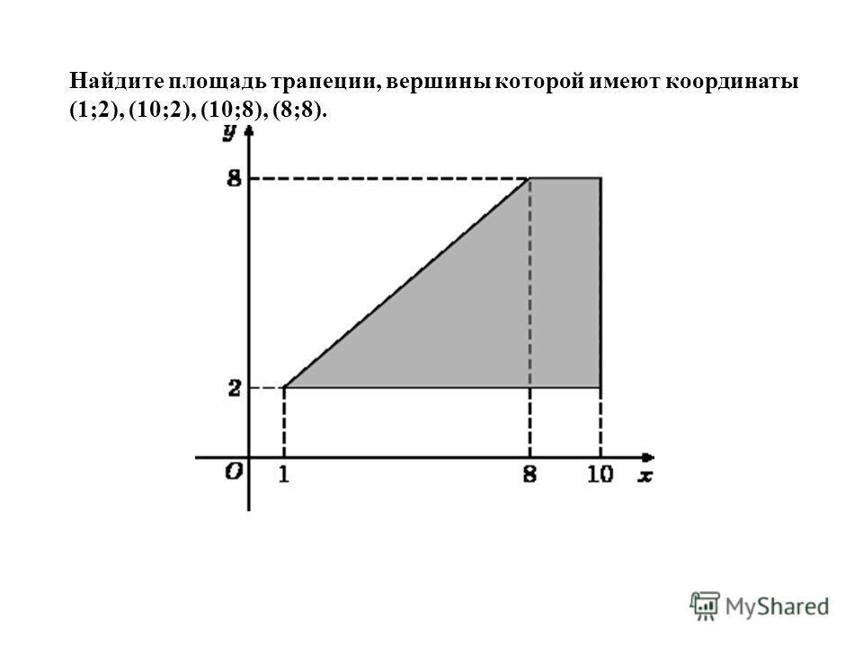 Найдите площадь трапеции, вершины которой имеют координаты (1;2), (10;2), (10;8), (8;8).
