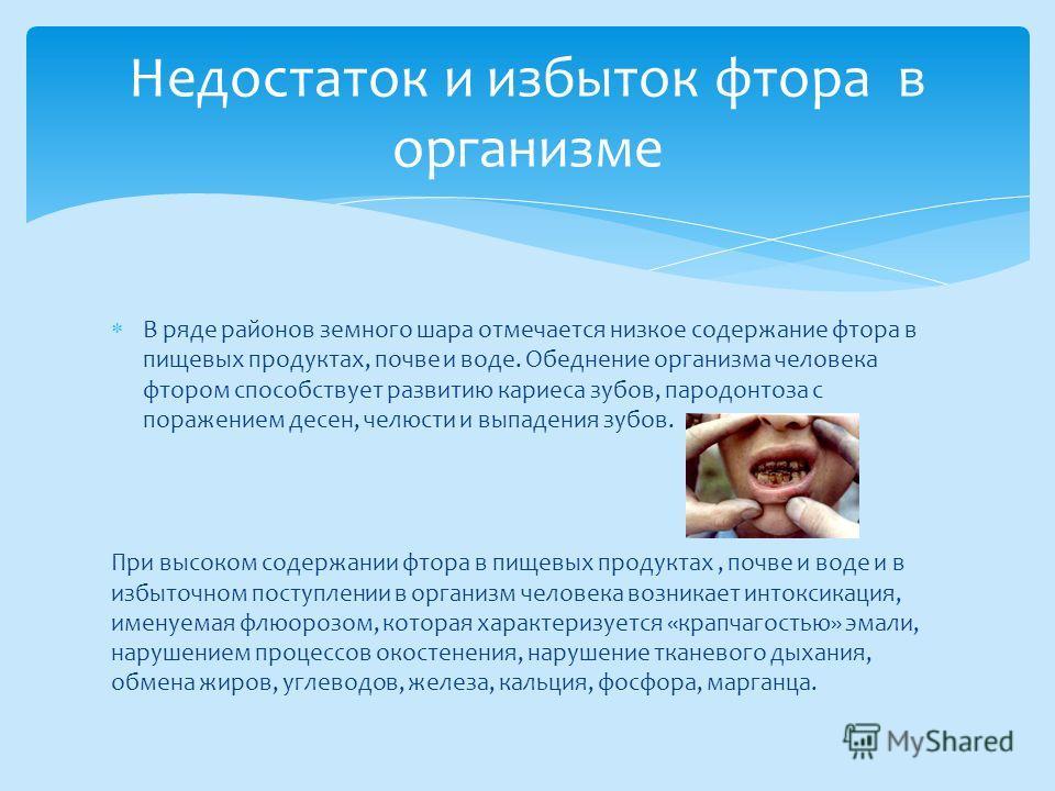 В ряде районов земного шара отмечается низкое содержание фтора в пищевых продуктах, почве и воде. Обеднение организма человека фтором способствует развитию кариеса зубов, пародонтоза с поражением десен, челюсти и выпадения зубов. При высоком содержан