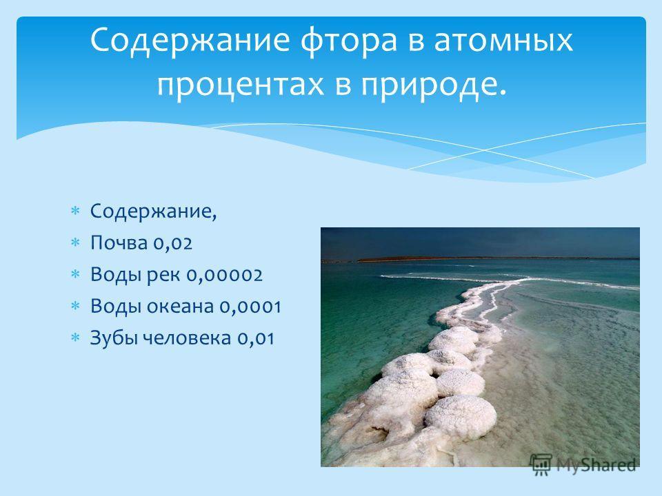 Содержание, Почва 0,02 Воды рек 0,00002 Воды океана 0,0001 Зубы человека 0,01 Содержание фтора в атомных процентах в природе.