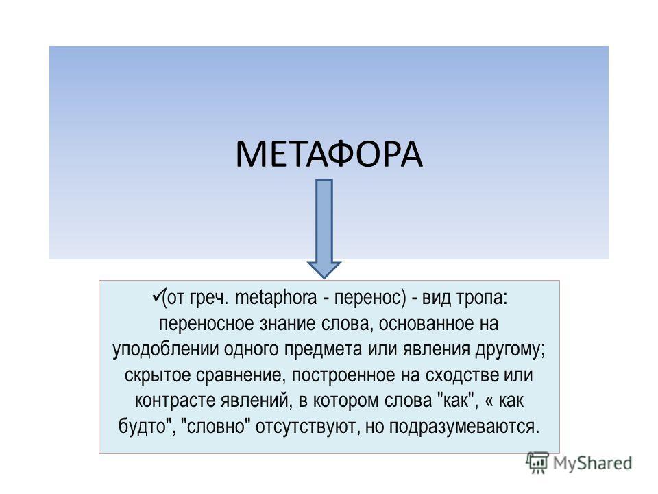 МЕТАФОРА (от греч. metaphora - перенос) - вид тропа: переносное знание слова, основанное на уподоблении одного предмета или явления другому; скрытое сравнение, построенное на сходстве или контрасте явлений, в котором слова