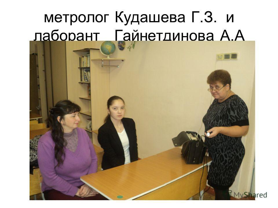 метролог Кудашева Г.З. и лаборант Гайнетдинова А.А