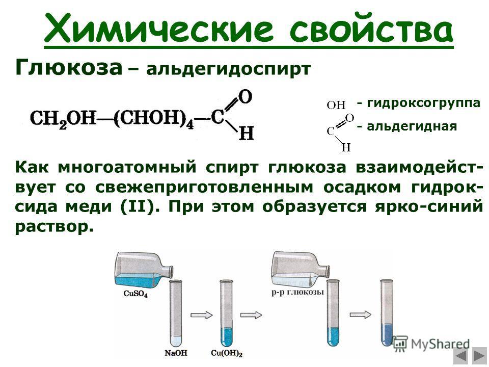 Химические свойства Глюкоза – альдегидоспирт - гидроксогруппа - альдегидная Как многоатомный спирт глюкоза взаимодейст- вует со свежеприготовленным осадком гидрок- сида меди (II). При этом образуется ярко-синий раствор.