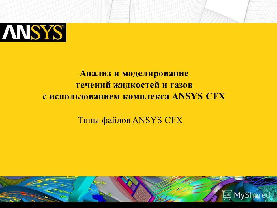 Анализ и моделирование течений жидкостей и газов c использованием комплекса ANSYS CFX Типы файлов ANSYS CFX