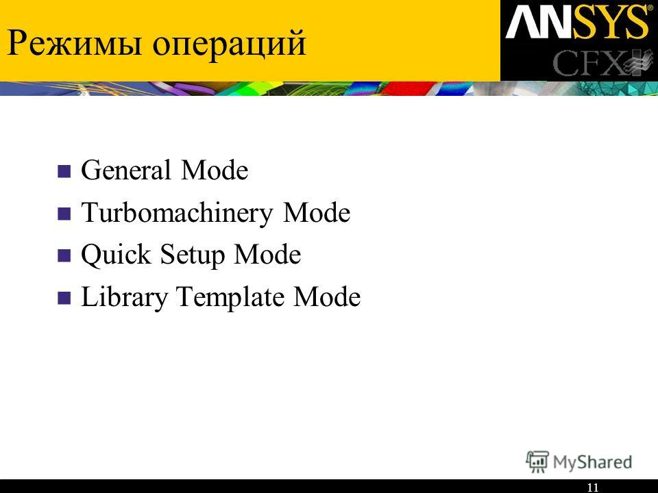 11 Режимы операций General Mode Turbomachinery Mode Quick Setup Mode Library Template Mode