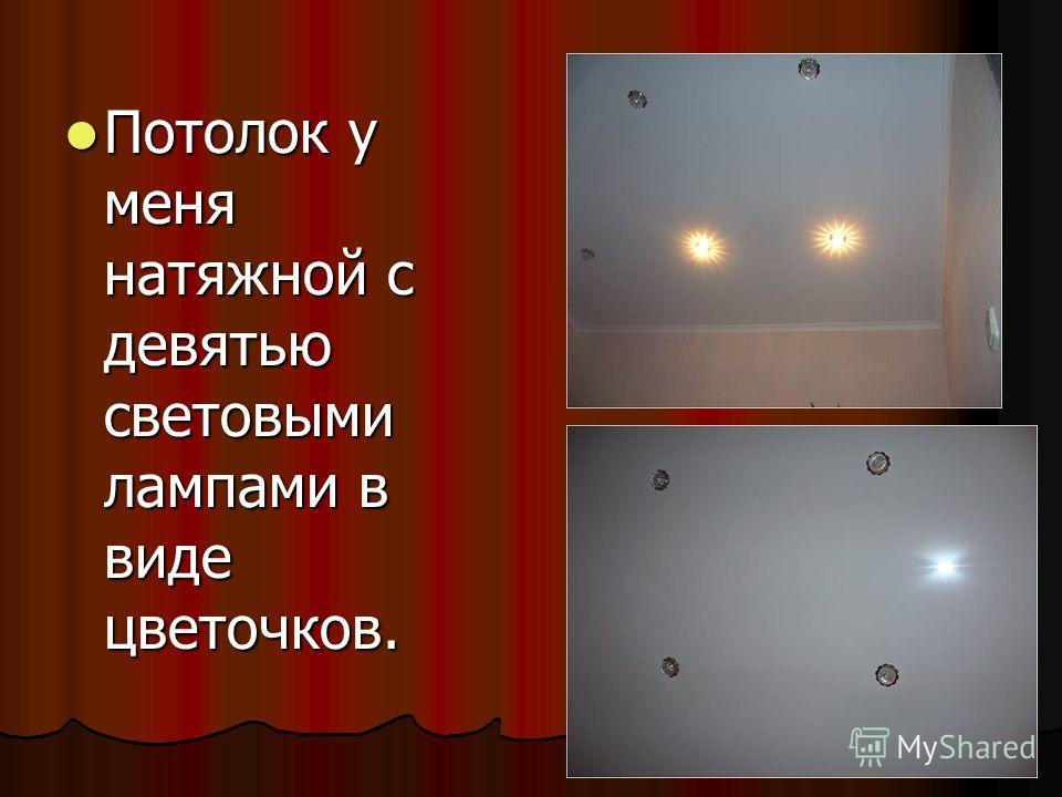 Потолок у меня натяжной с девятью световыми лампами в виде цветочков. Потолок у меня натяжной с девятью световыми лампами в виде цветочков.
