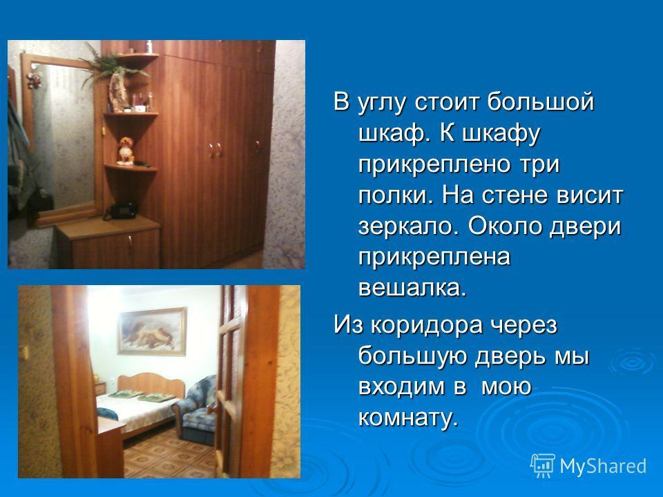 В углу стоит большой шкаф. К шкафу прикреплено три полки. На стене висит зеркало. Около двери прикреплена вешалка. Из коридора через большую дверь мы входим в мою комнату.