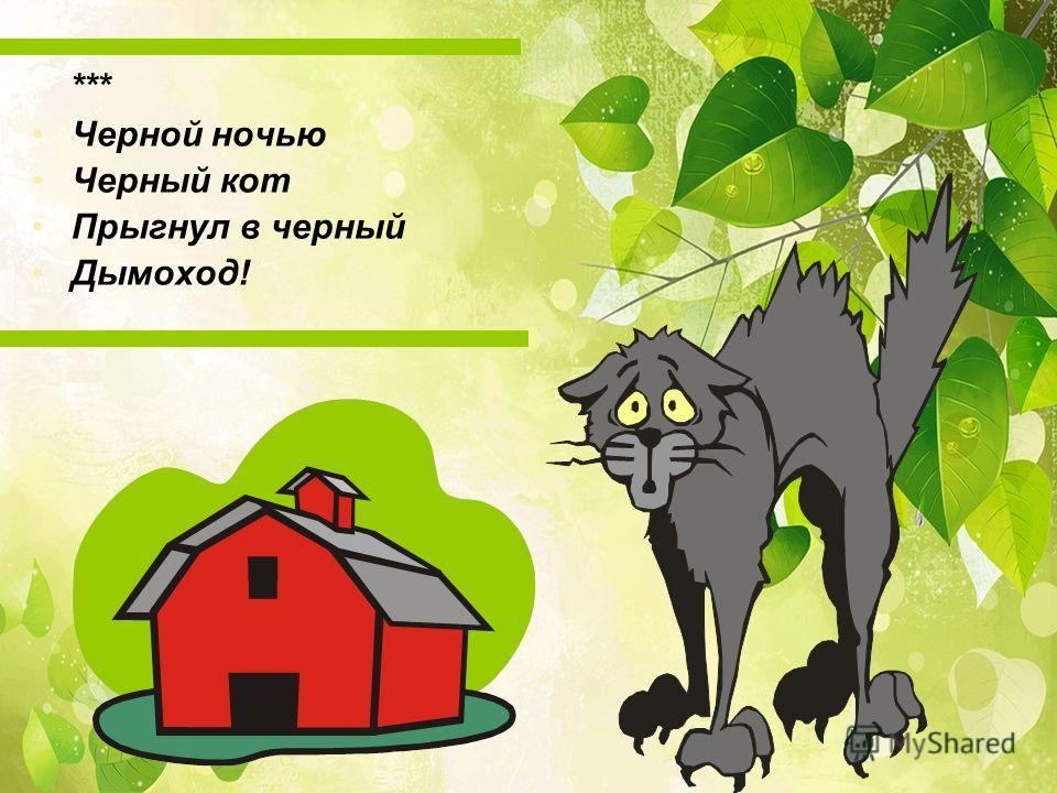 *** Чеpной ночью Чеpный кот Пpыгнул в чеpный Дымоход!