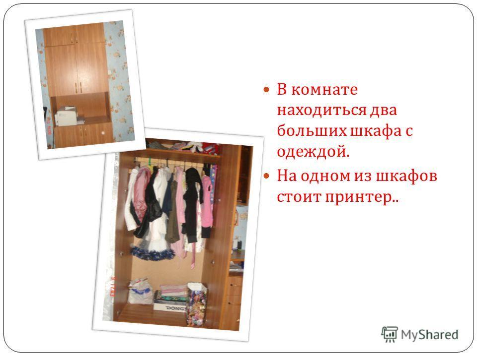 В комнате находиться два больших шкафа с одеждой. На одном из шкафов стоит принтер..