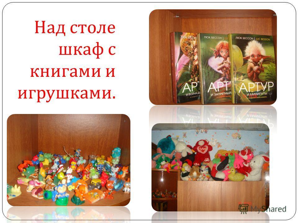 Над столе шкаф с книгами и игрушками.