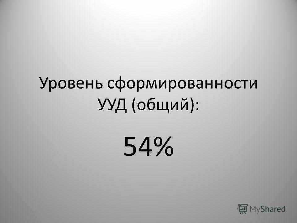 Уровень сформированности УУД (общий): 54%
