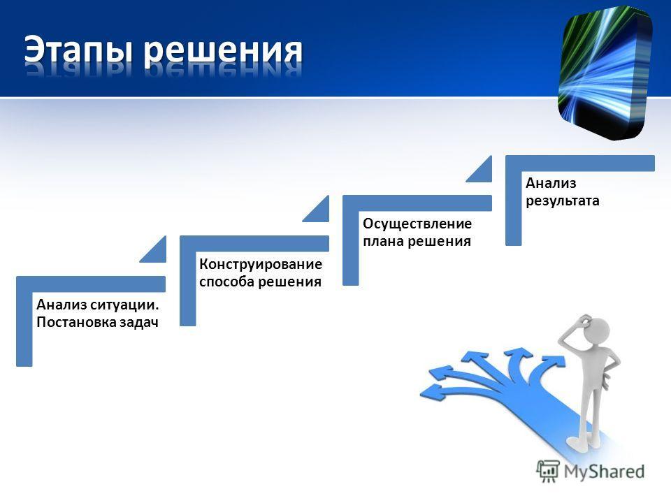 Анализ ситуации. Постановка задач Конструирование способа решения Осуществление плана решения Анализ результата