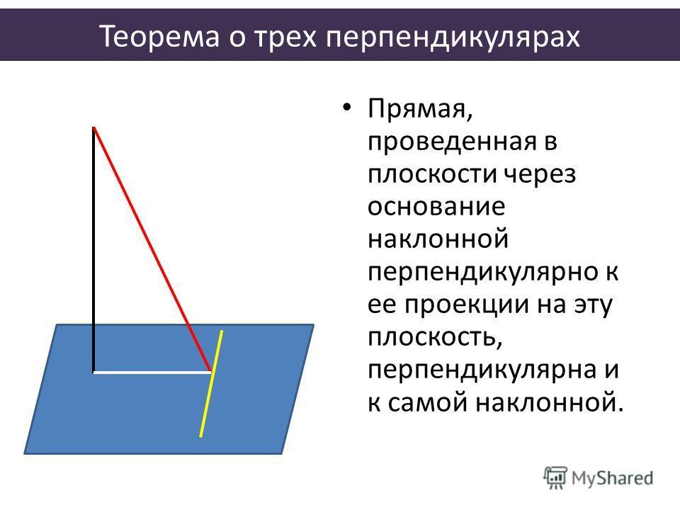 Теорема о трех перпендикулярах Прямая, проведенная в плоскости через основание наклонной перпендикулярно к ее проекции на эту плоскость, перпендикулярна и к самой наклонной.