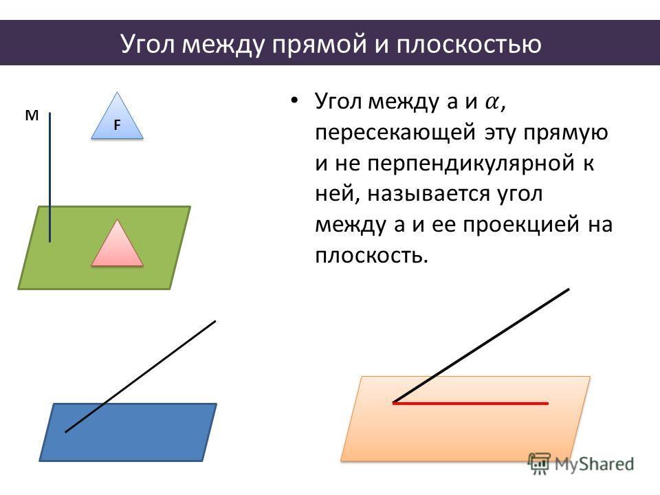 Угол между прямой и плоскостью М F