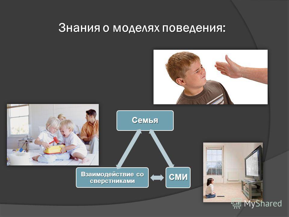 Знания о моделях поведения: Семья СМИ Взаимодействие со сверстниками