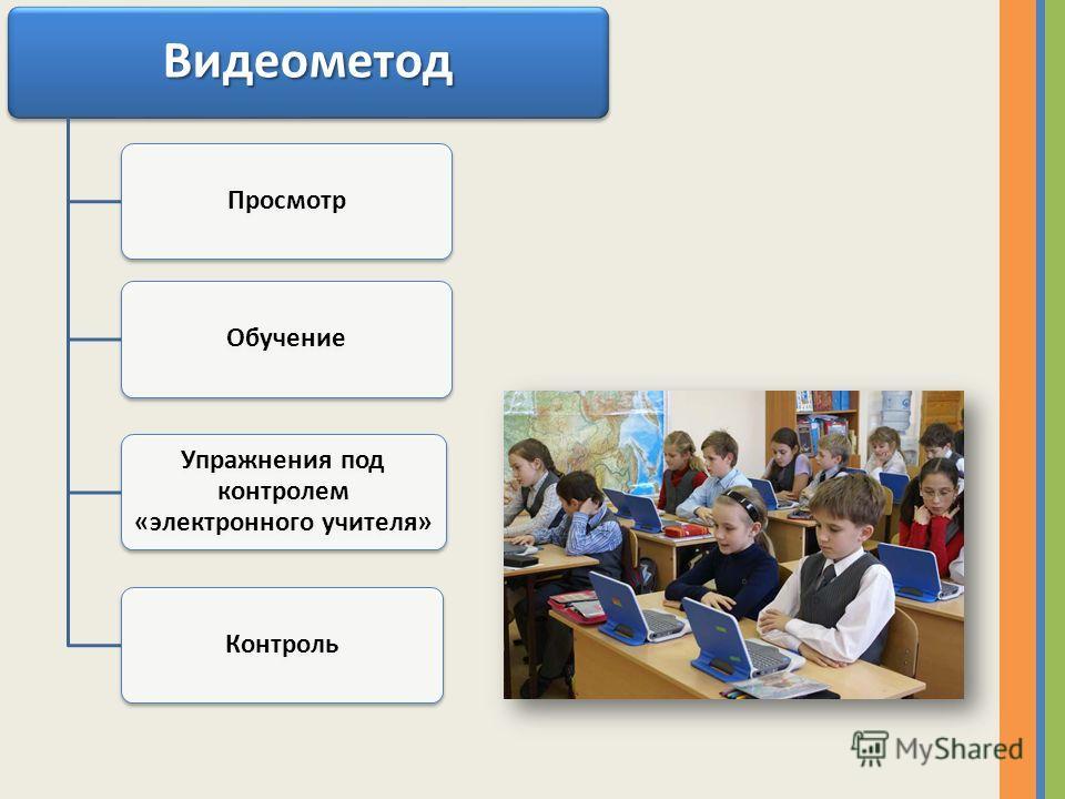 Видеометод ПросмотрОбучение Упражнения под контролем «электронного учителя» Контроль