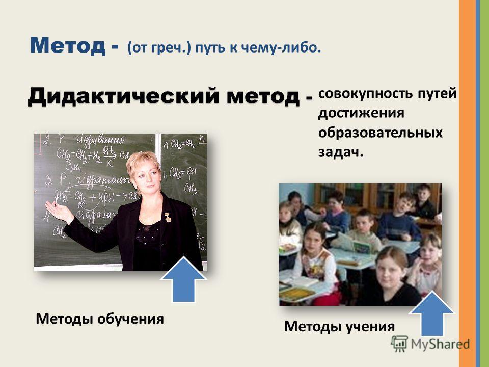Метод - (от греч.) путь к чему-либо. Дидактический метод - совокупность путей достижения образовательных задач. Методы обучения Методы учения