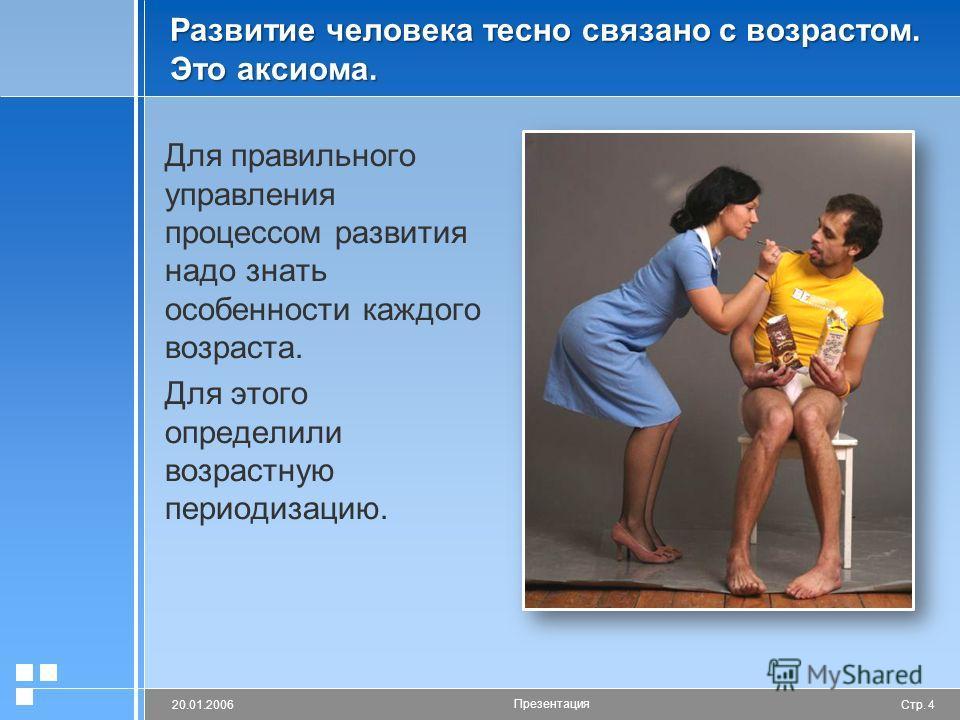 Стр. 420.01.2006 Презентация Развитие человека тесно связано с возрастом. Это аксиома. Для правильного управления процессом развития надо знать особенности каждого возраста. Для этого определили возрастную периодизацию.