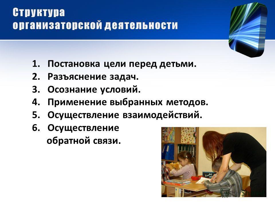 1.Постановка цели перед детьми. 2.Разъяснение задач. 3.Осознание условий. 4.Применение выбранных методов. 5.Осуществление взаимодействий. 6.Осуществление обратной связи.